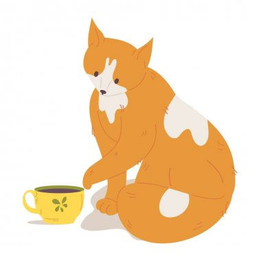 Ginger lovely cat moves tea cup. Vector isolated on white scene drawn in cartoon style. icon