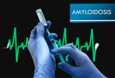 Treatment of amyloidosis. Syringe is filled with injection. Syringe and vaccine. Medical concept.