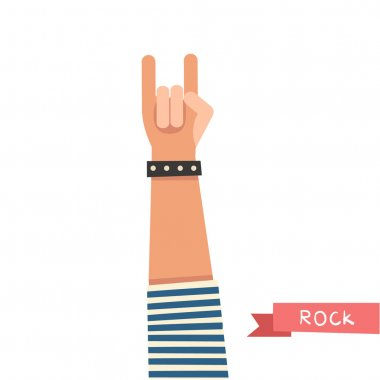 hand up showing Rock sign.