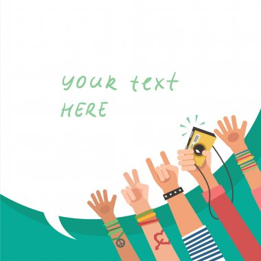 Colorful flat background with a lot of hands of young people and bubble for a text stock vector