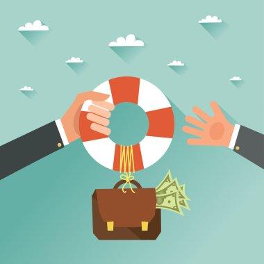 Businessman getting financial aid with lifebuoy