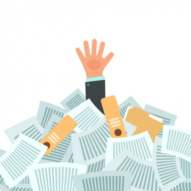 businessman under a lot of documents