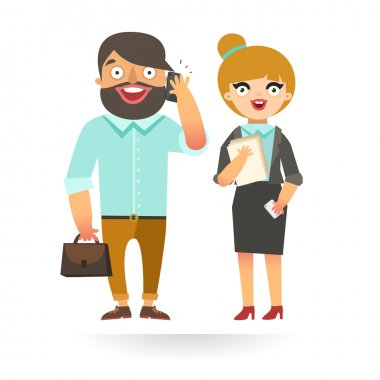 Funny Businessman and Businesswoman. Young man and woman in elegant business suits, with briefcase, talking on phone, holding papers. Vector colorful illustration in flat design stock vector