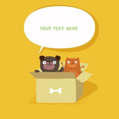 cat and dog sitting in cardboard box
