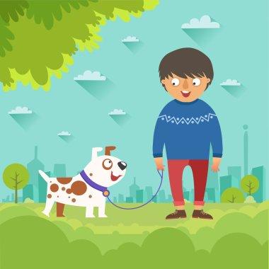 "Картина, постер, плакат, фотообои ""мальчик выгуливает свою милую собаку картины пейзаж море"", артикул 105372882"