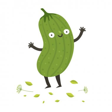 Cute funny cartoon cucumber