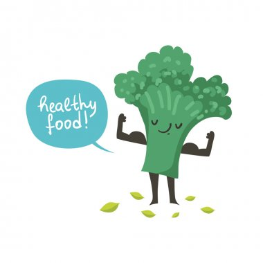 Cute broccoli cartoon character