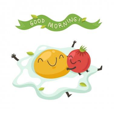 cartoon egg with hugging tomato