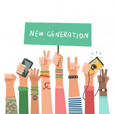 Youth crowd with banner. Manifesting new generation crowd. A lot of hands of young people with different gestures. Vector illustration in flat style stock vector