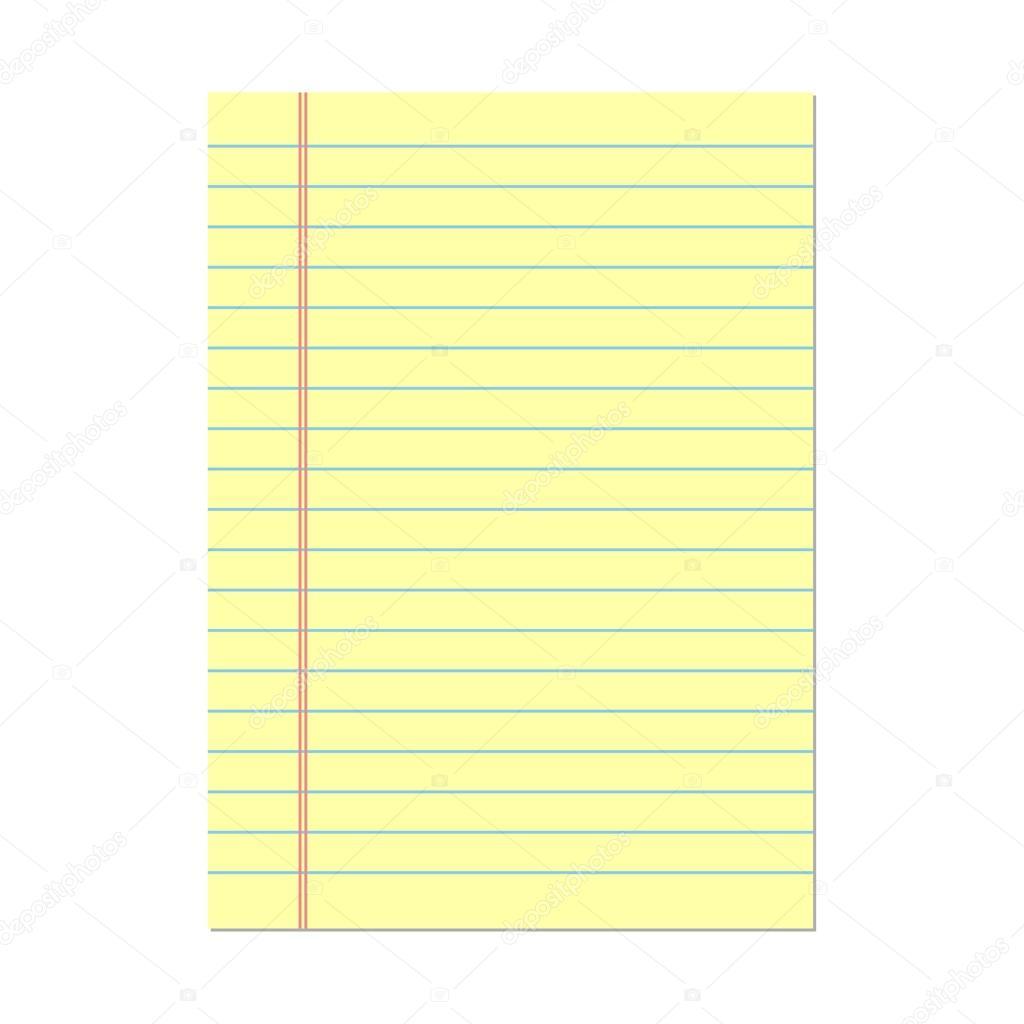 Papel amarillo rayado. Papel de cuaderno — Archivo Imágenes ...