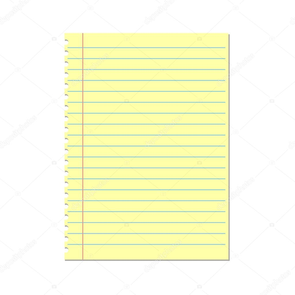 yellow lined paper. notebook paper — stock vector © brigada915.gmail