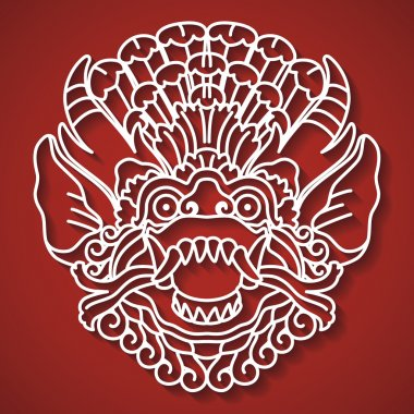 Mythological god's face. Balinese tradition. Barong.