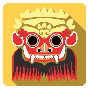 Barong, Bali. Flat icons. Traditional mythological god.