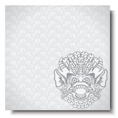 Square banner with Barong head. Balinese traditional ornament. Silver background.