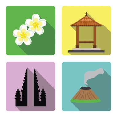 Bali. Set of flat icons.