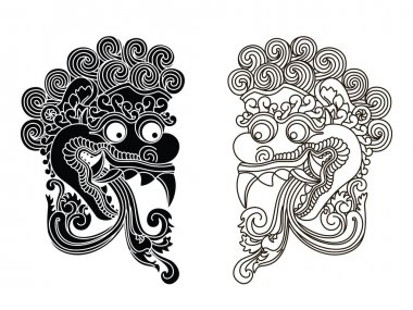 Mythological god's masks. Balinese style. Barong.