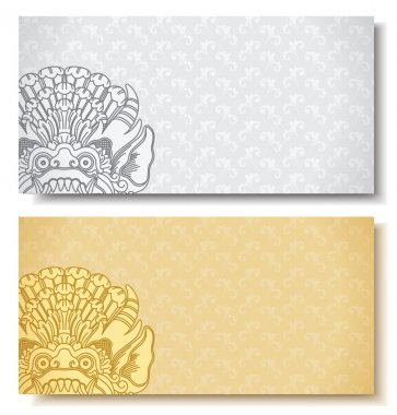 Horizontal banners. Balinese traditional ornament. Siver and gold background.