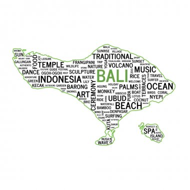 Word Cloud, Bali map shape. Vector illustration.