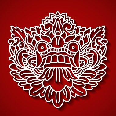 Mythological god's face. Balinese tradition. Barong.