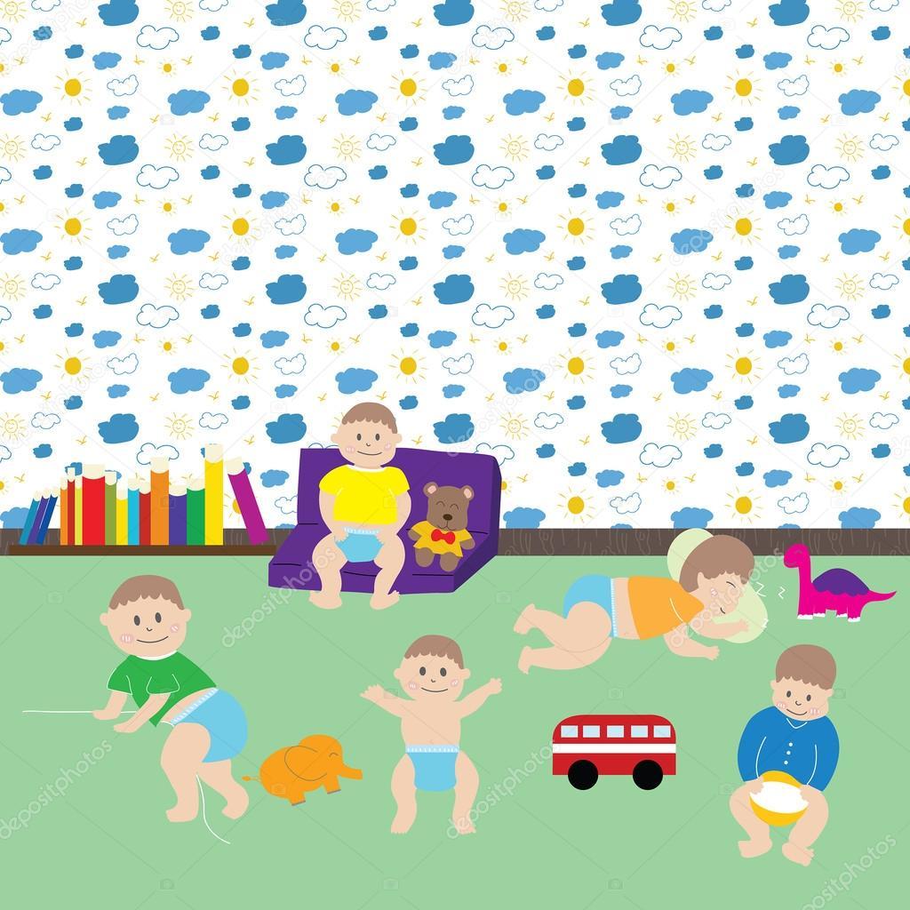 Happy baby boys. Cute cartoon little kids and toys in nursery ...