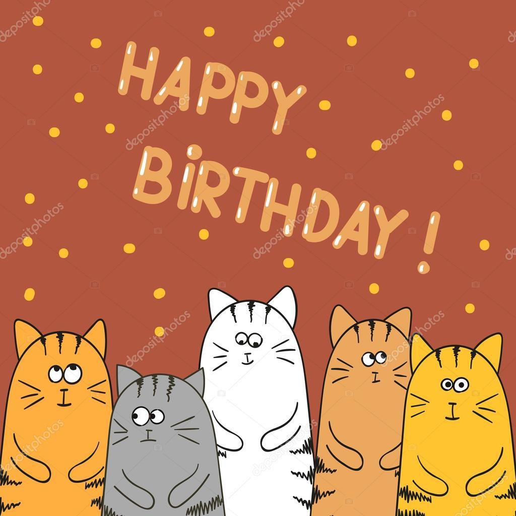 Grattis På Födelsedagen Adresskortsmallen. Rolig Tecknad