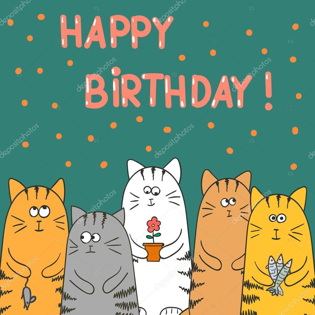 Lustige Katzen Mit Geschenken Geburtstag Vektor Karte Design