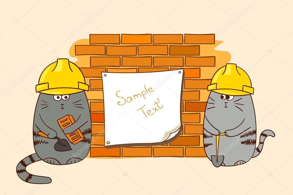 Zwei Comic Katzen Bauherren An Die Wand Stockvektor C Afanasia