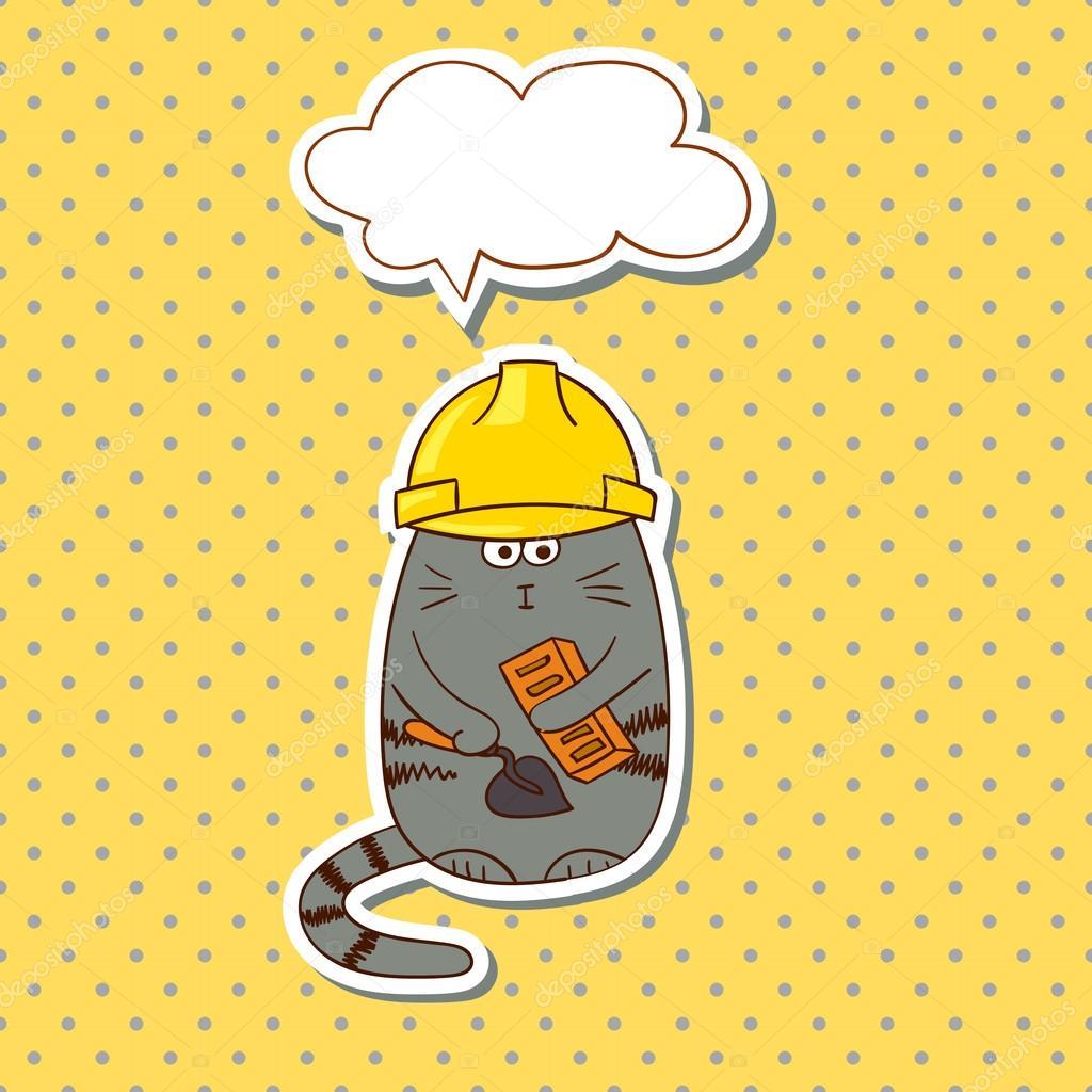 Cartoon Bauarbeiter Lustige Katze Builder Mit Sprechblase