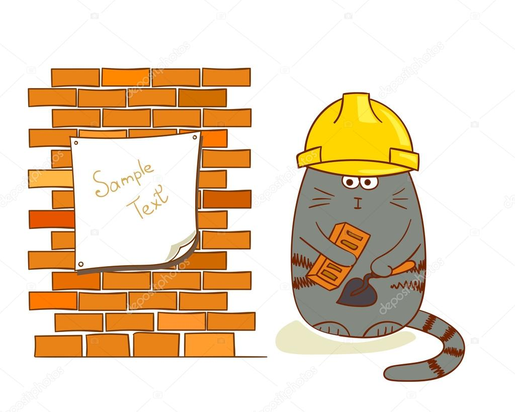 Cartoon Katze Generator Nahe Mauer Lustige Bauarbeiter