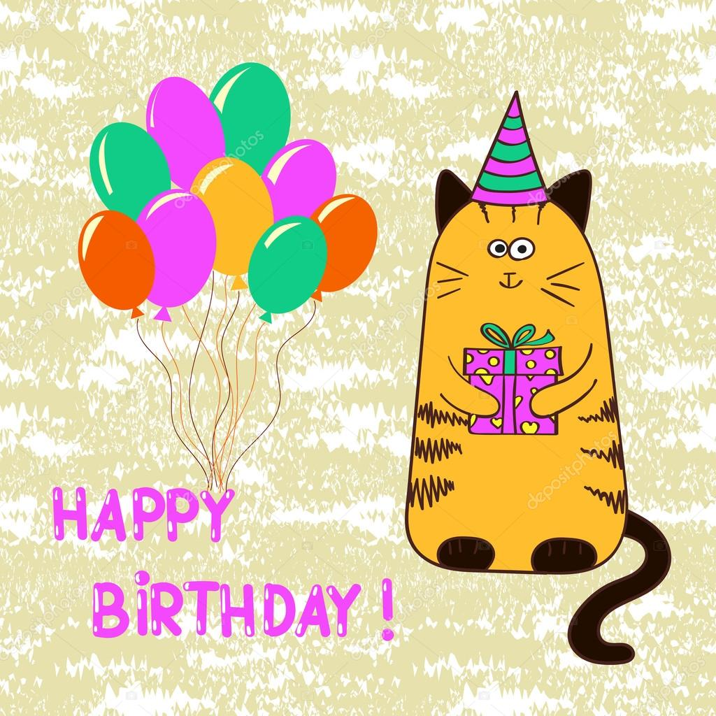 Happy Birthday Card Template With Cute Cat Stock Vector