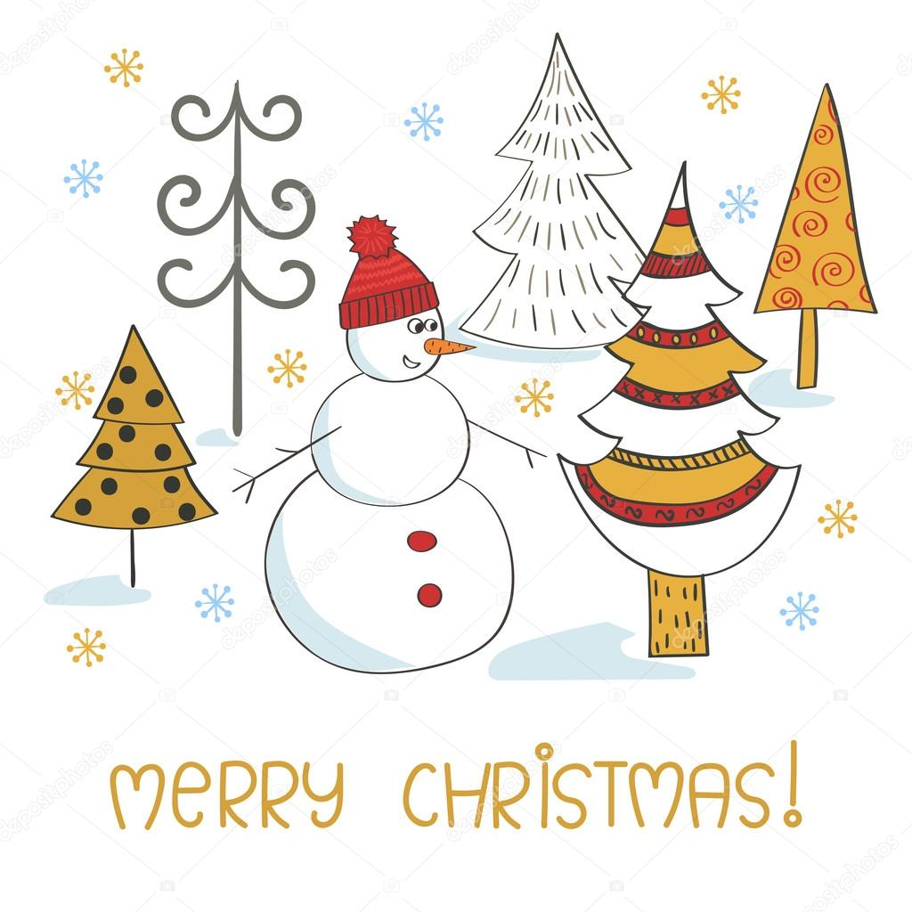 merry christmas card template holiday background with cute snowman