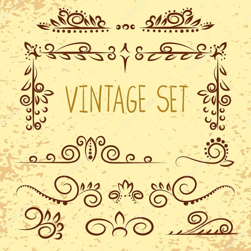 Satz von Vintage-dekorative Elemente - Ecken, Rahmen, geschweiften ...