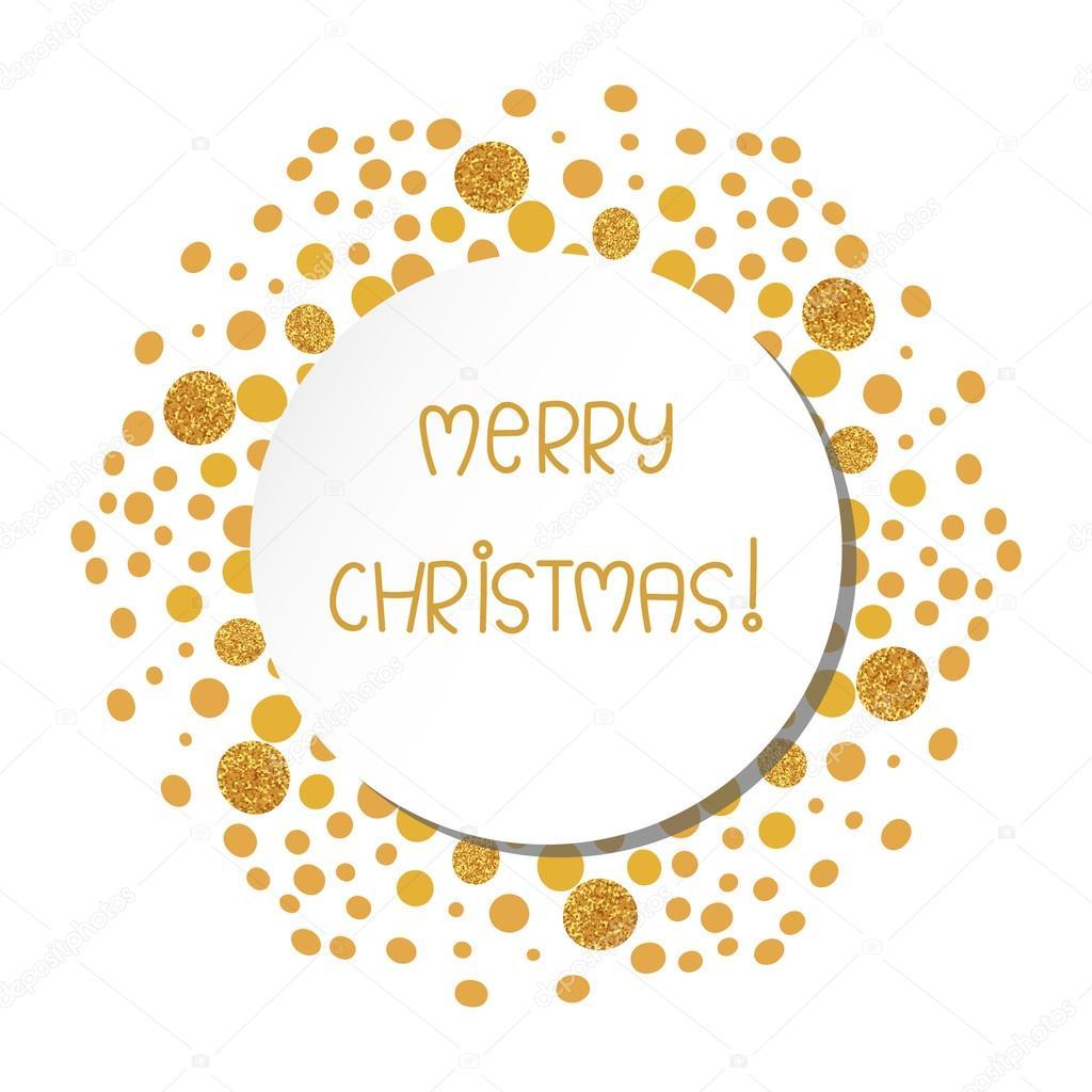 Stilvolle Weihnachtskarte Mit Gold Glitzernden Punkten Stockvektor