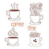 Doodle šálků kávy izolovaných na bílém pozadí