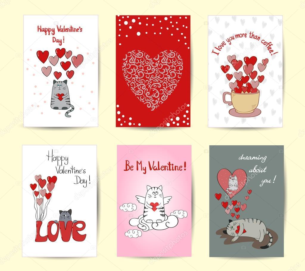 Valentinstag Karte Design-Vorlagen. Niedliche Katzen verliebt ...