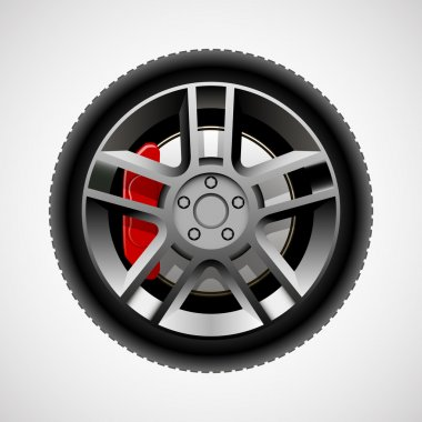 Car wheel with tire and brakes