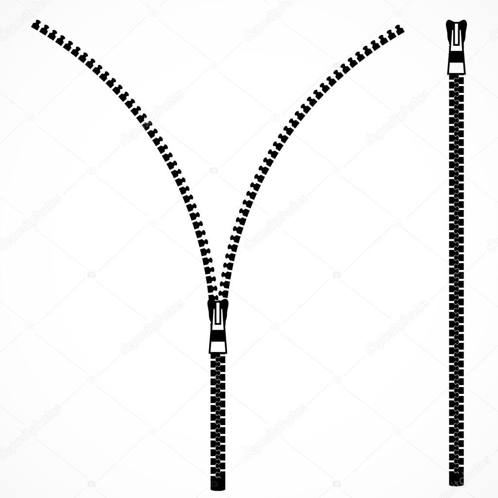 Open Zipper Vector Open and closed zipper...
