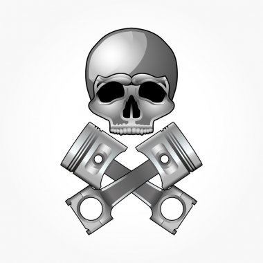 Skull and crossed pistons, isolated on white