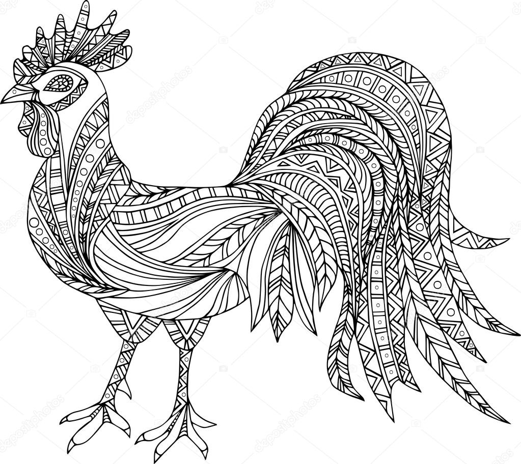 Hand drawn black and white rooster. Design element.