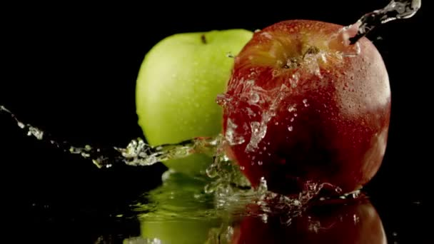 fresh apples black background