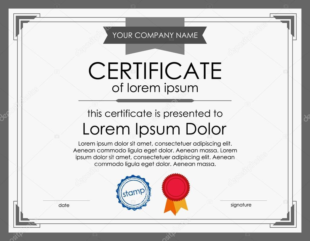 Zertifikat-Vorlage mit Rahmen — Stockvektor © Azamatovic #115255164