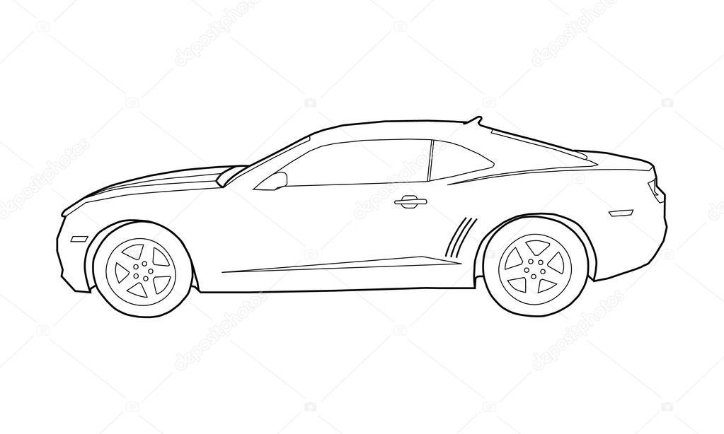 Ilustración para colorear de coches de contorno — Archivo Imágenes ...