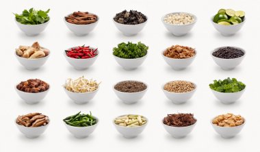 composite with varieties of ingredients isolated on white