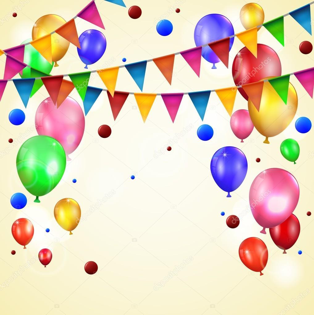 Geburtstag Ballons Und Flagge Stockvektor C Bahtiarmaulana92 Yahoo