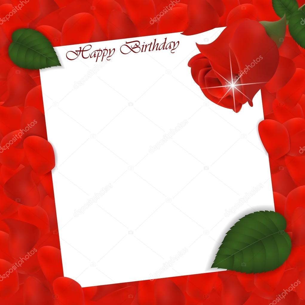 Happy Birthday Card With Roses Flower Stock Vector