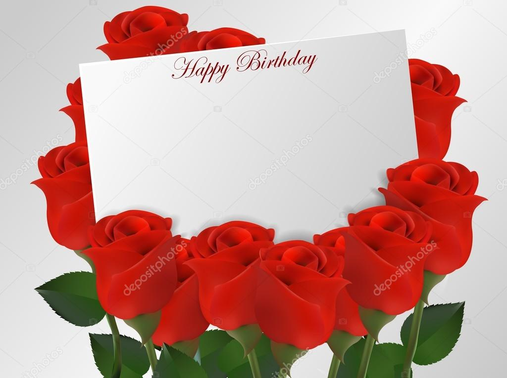 Tarjeta Del Feliz Cumpleaños Con Flores Rosas