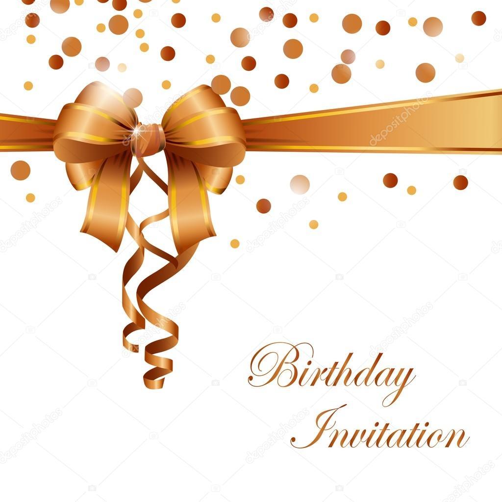 Birthday Invitation Card With Gold Ribbon Stock Vector