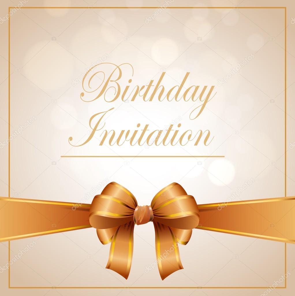 Gold Birthday Invitation Card Stock Vector