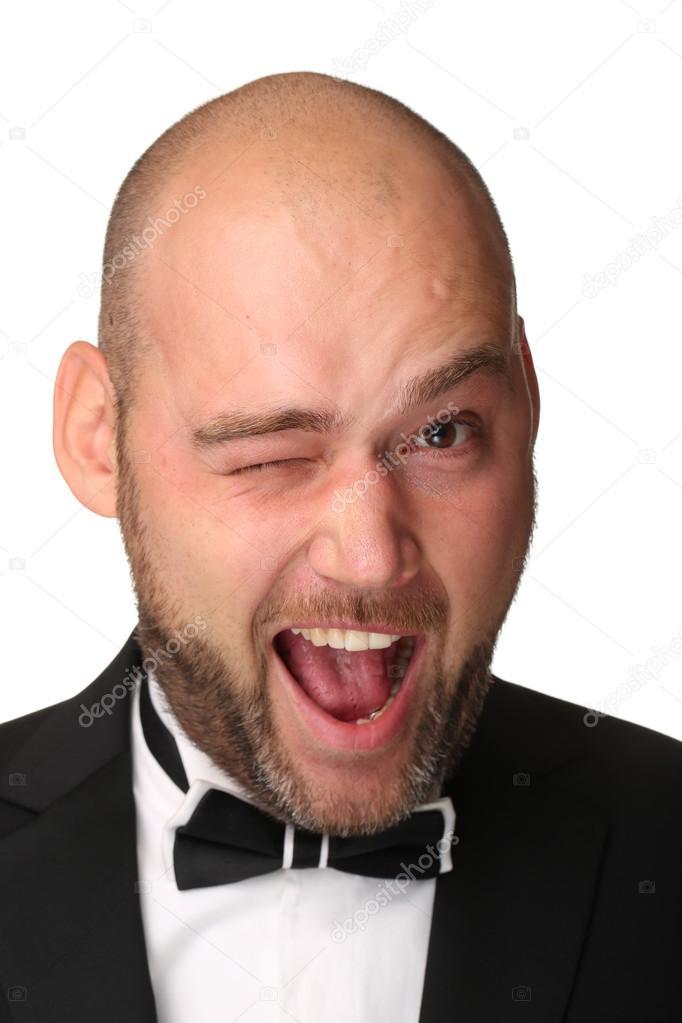 Porträt Stilvolle Und Brutalen Glatze Mann Mit Bart Stockfoto