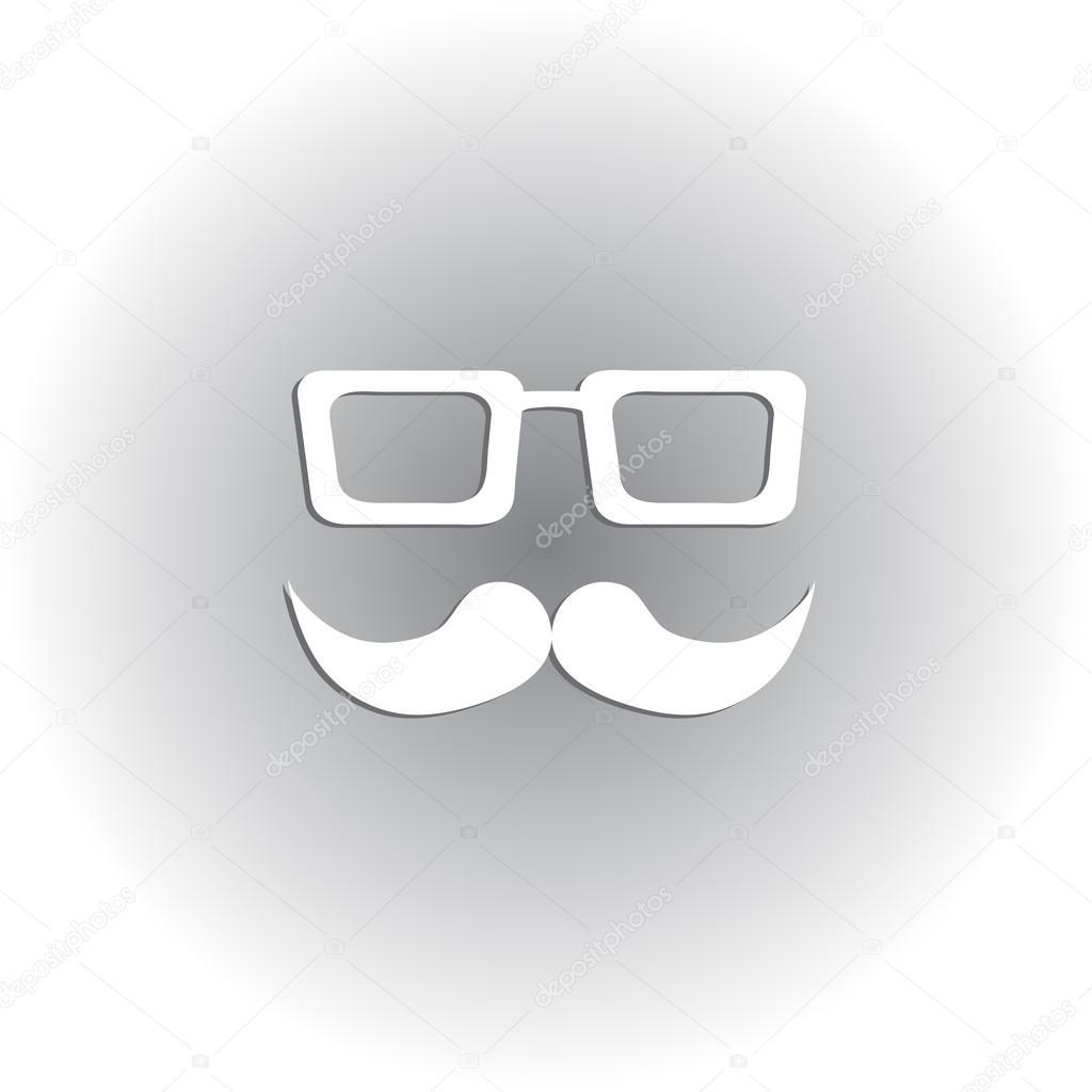 Retro Hipster Bıyık Ve Gözlük Sembolü Kolayca Idare Ve özel Boyama